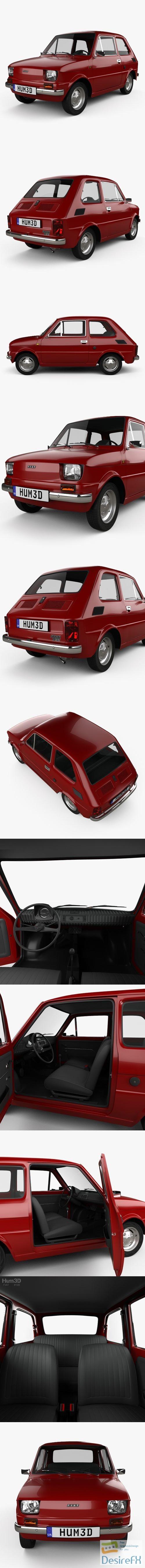 Fiat 126 with HQ interior 1976 3D Model