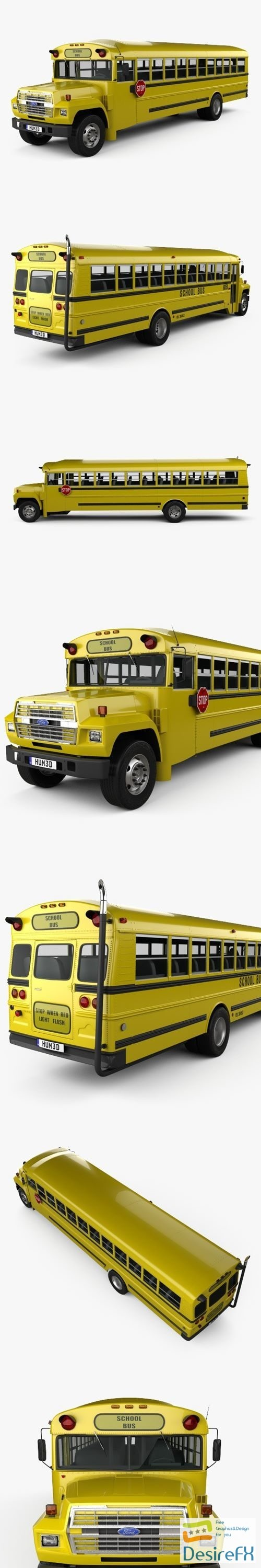 3d-models - Ford B-700 Thomas Conventional School Bus 1984 3D Model