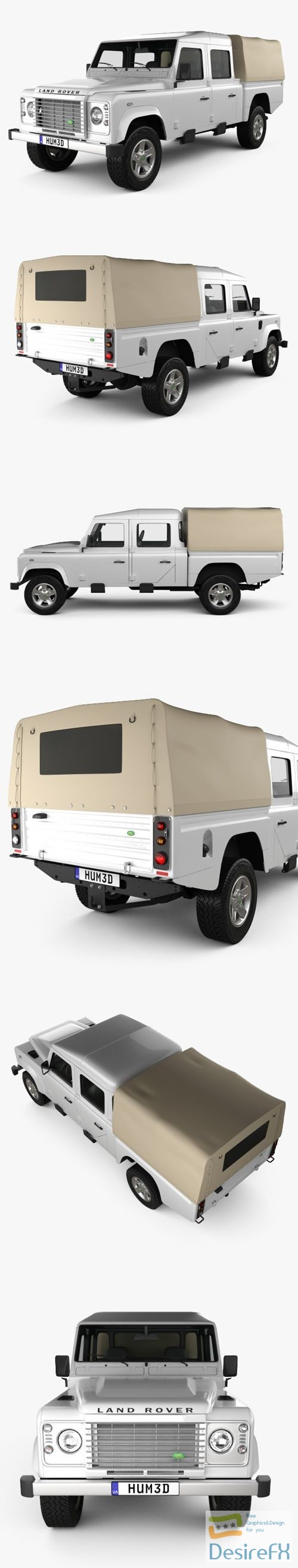 3d-models - Land Rover Defender 130 High Capacity DoubleCab PickUp 2011 3D Model