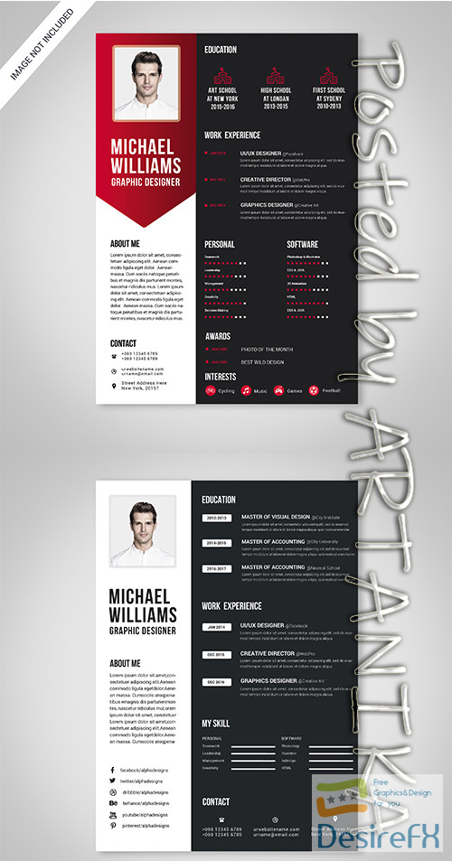 layered-psd - Black, White and Red Resume Template