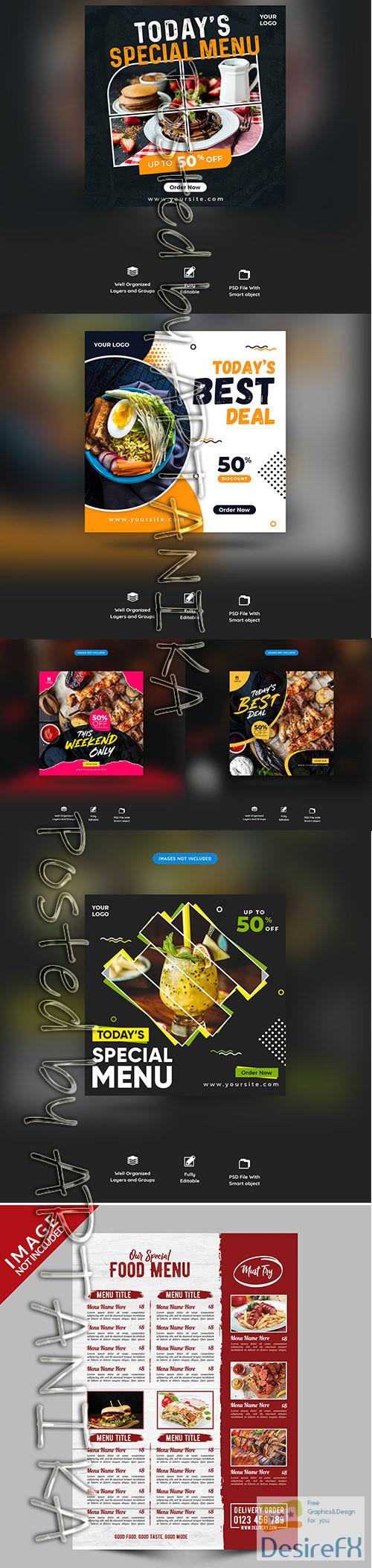 layered-psd - Restaurant Food Menu Social Media Post and Menu Template