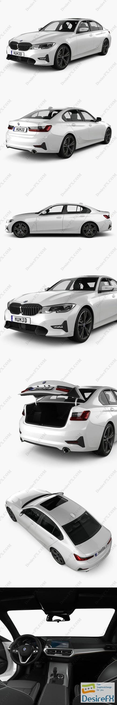 BMW 3-series sedan Sport Line with HQ interior 2019 3D Model