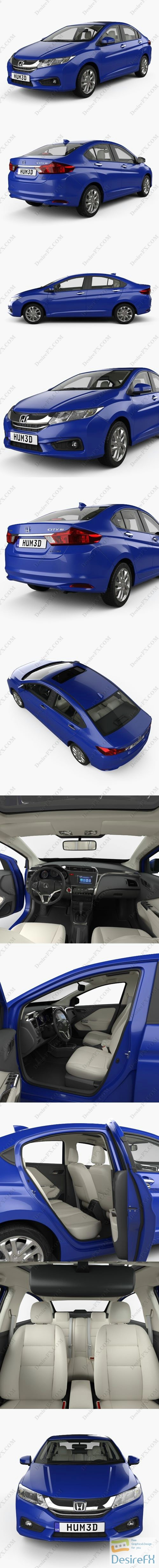 3d-models - Honda City with HQ interior 2014 3D Model