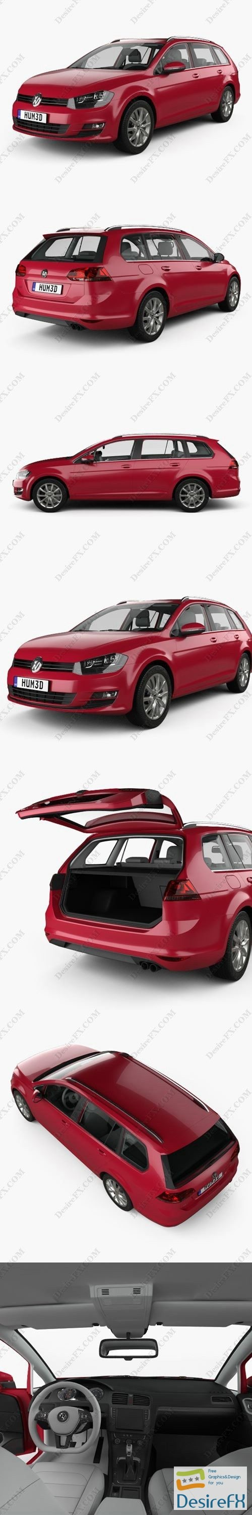 3d-models - Volkswagen Golf variant with HQ interior 2014 3D Model