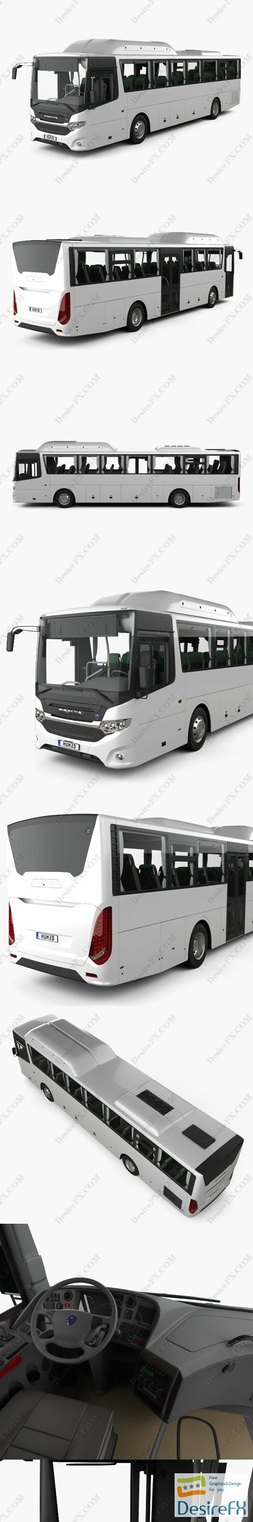 Scania Interlink Bus with HQ interior 2015 3D Model