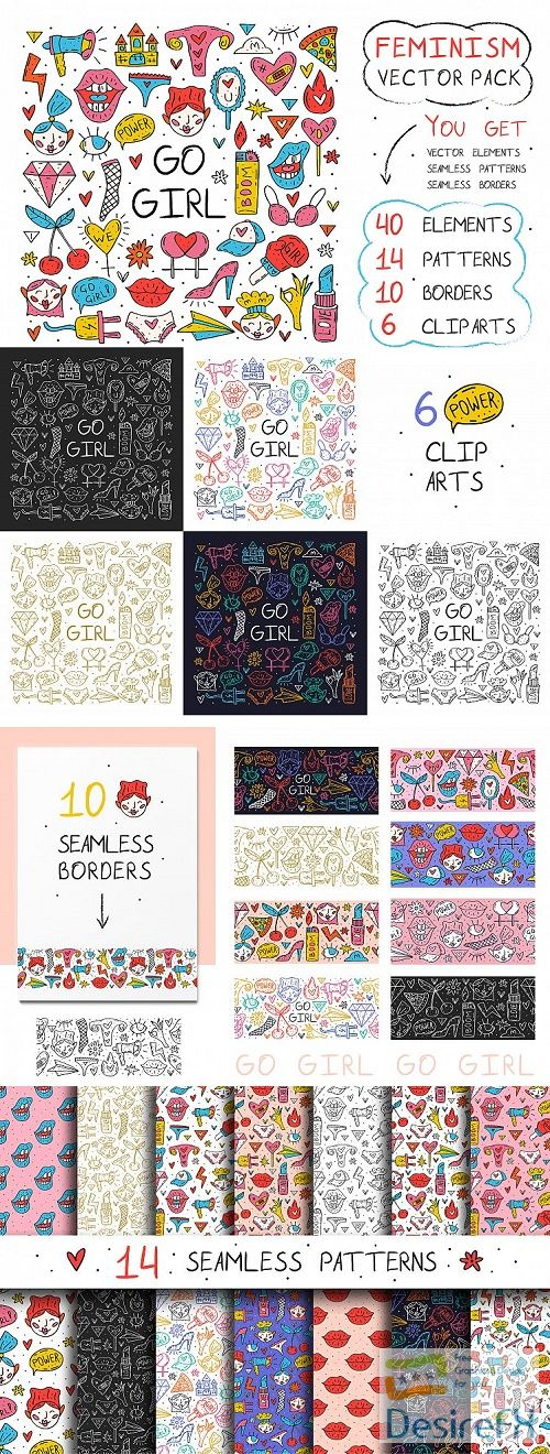 Go girl feminism big vector pack. Clip arts patterns borders - 516584