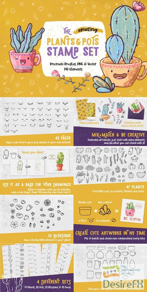The Plants & Pots Stamp Set 3195392