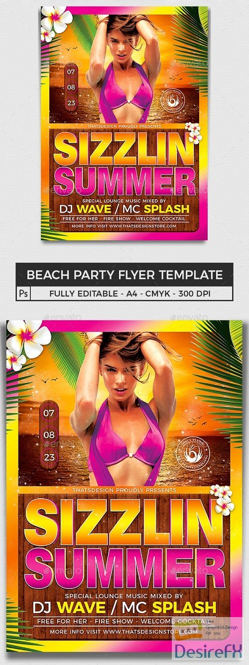 Beach Party Flyer Template V7 - 15819162 - 644118