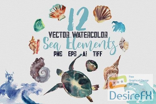 12 Vector Watecolor Clipart Sea Elements, png, tiff, ai, eps - 517266