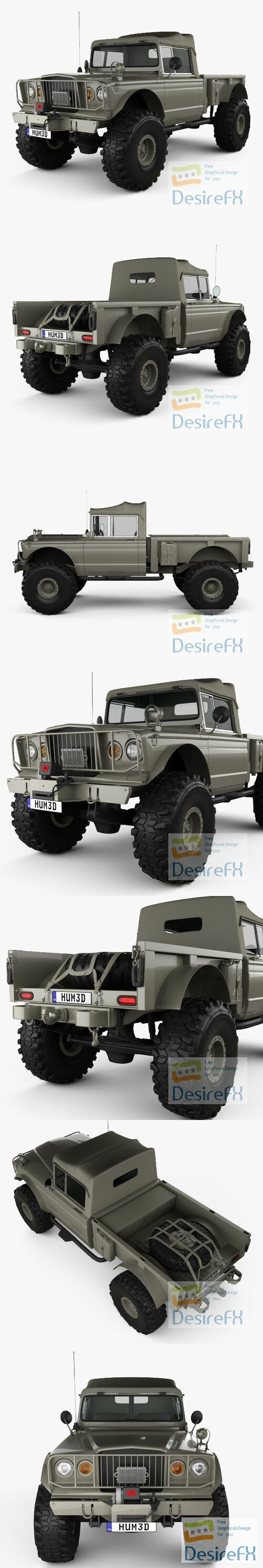 Jeep Kaiser M715 Olive Drab Ogre 1967 3D Model