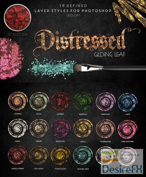 Thehungryjpeg - Distressed Gilding Leaf - Photoshop Styles - 36817