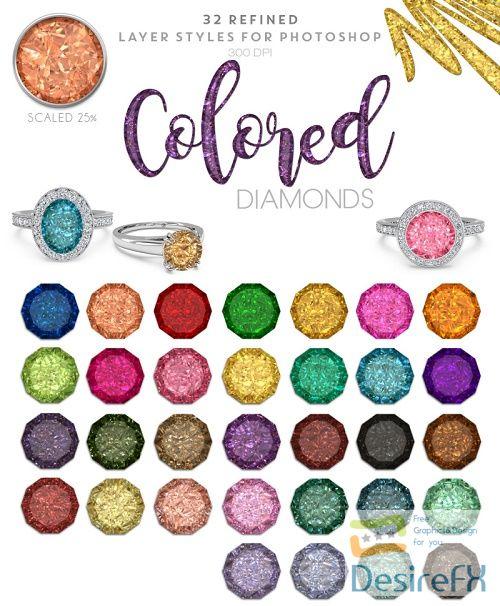 Thehungryjpeg - Colored Diamonds - Photoshop Styles - 98022