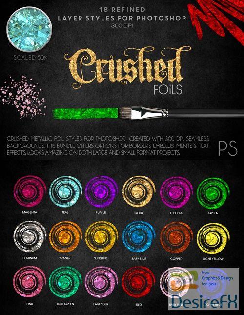 Thehungryjpeg - Crushed Metallic Foils - Photoshop Styles - 39873