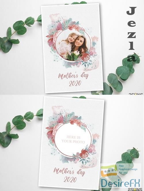 Mother's Day Digital Photoshop Template - 557542
