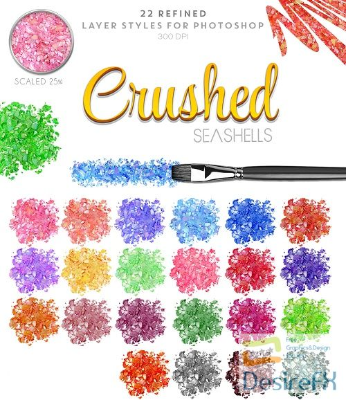 Thehungryjpeg Chushed Seashells Photoshop Styles - 95569