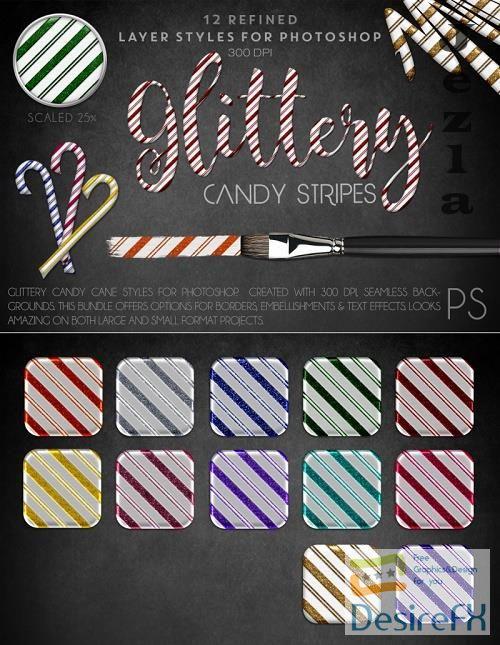 Thehungryjpeg - Glittery Candy Stripes - Photoshop Styles - 98554