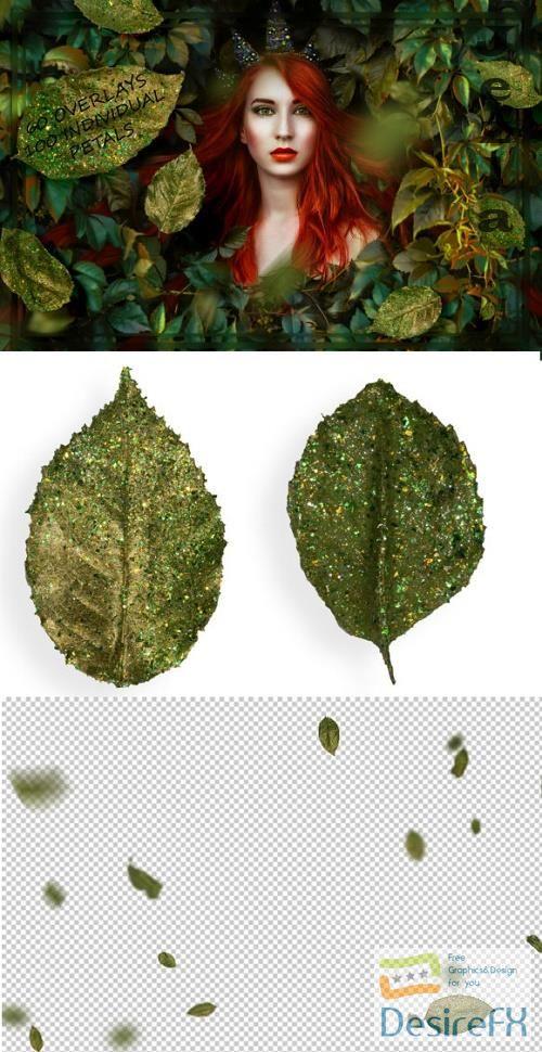 Glitter Rose Leaves Overlays