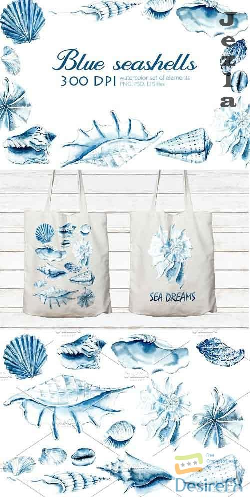 Watercolor blue sea shells - 3369998