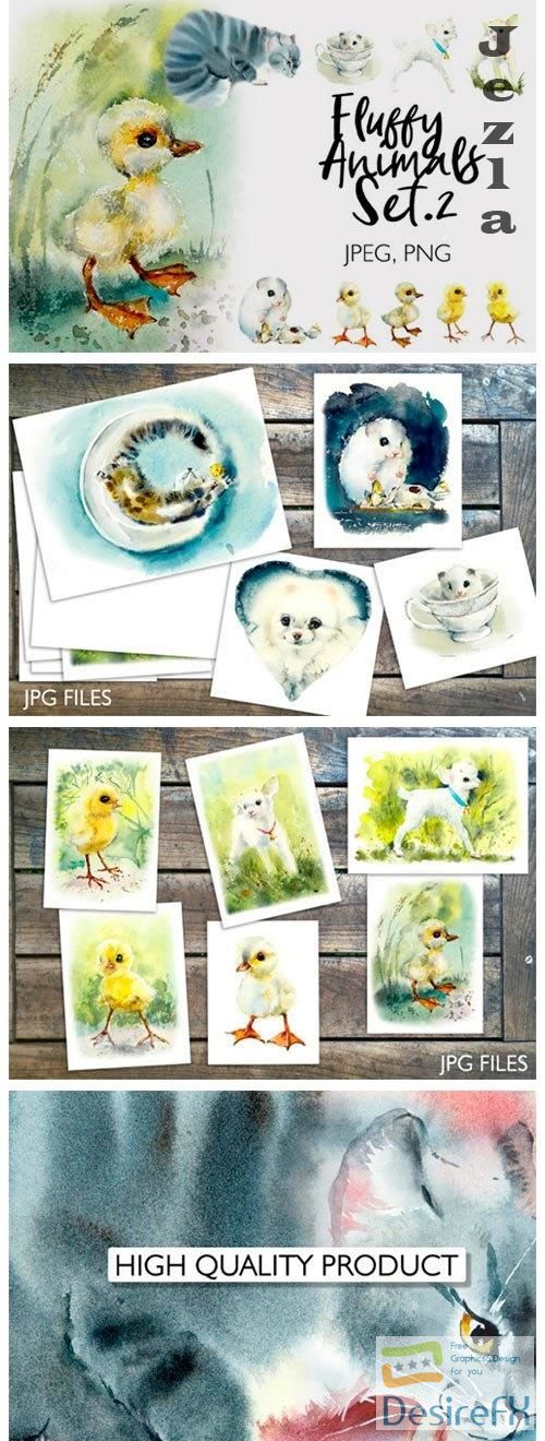 Watercolor Fluffy Pets - 4719633