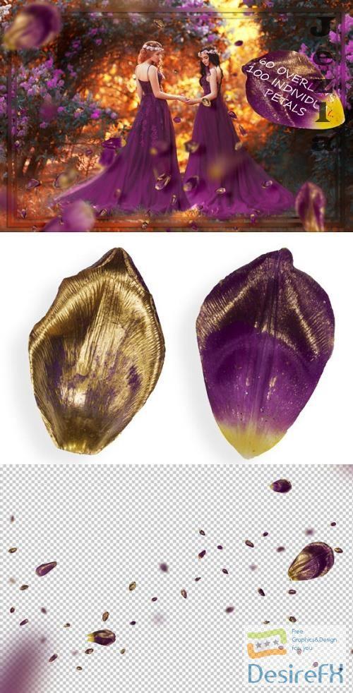 Gold & Purple Tulip Petals Overlays