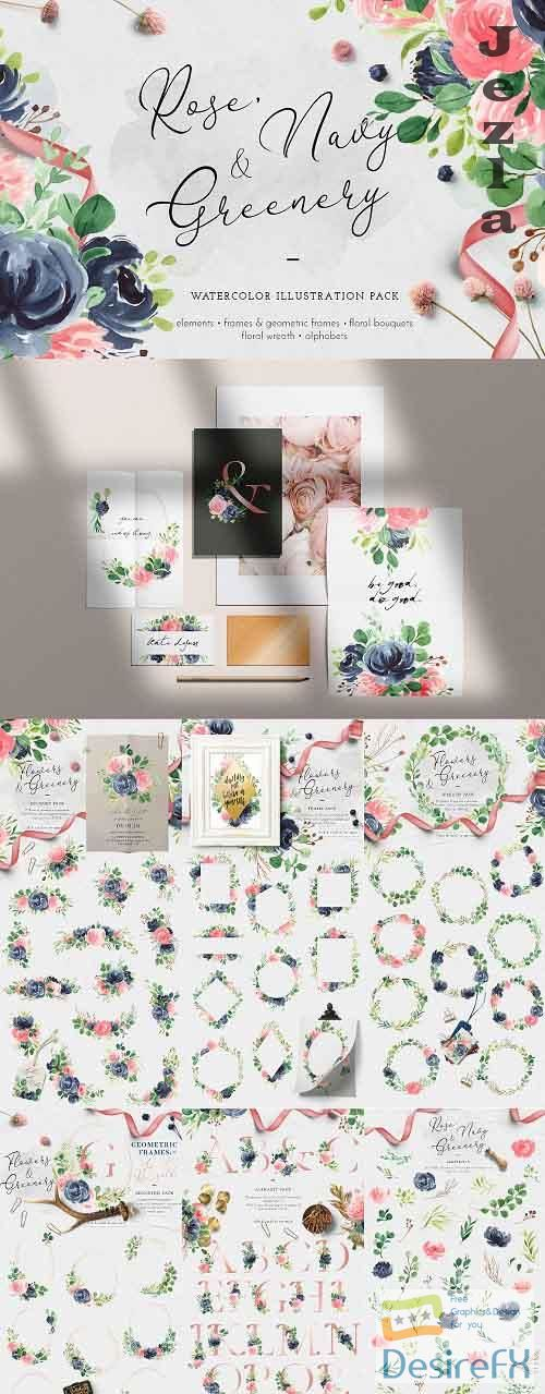 Rose, Navy & Greenery Illustration Pack - 4978852