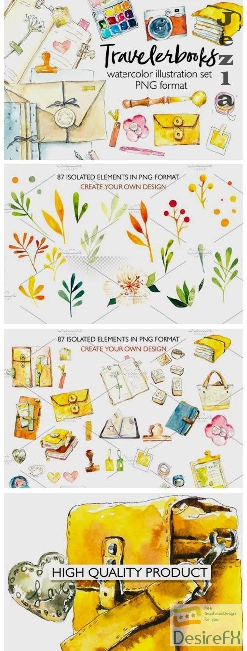 Travelbooks. Watercolor clipart - 4781262