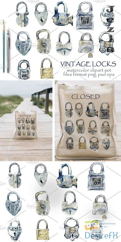 Watercolor vintage locks - 3934169