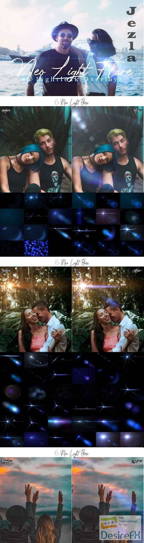 60 Neo Light Flare Effect Photo Overlays - 589214