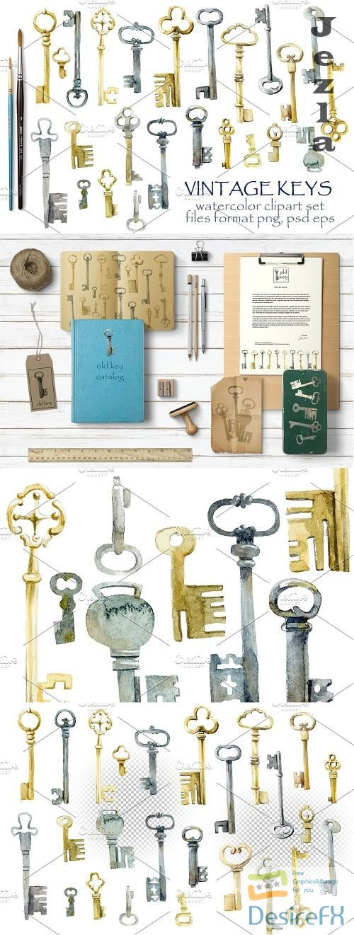 Watercolor vintage keys - 3950808