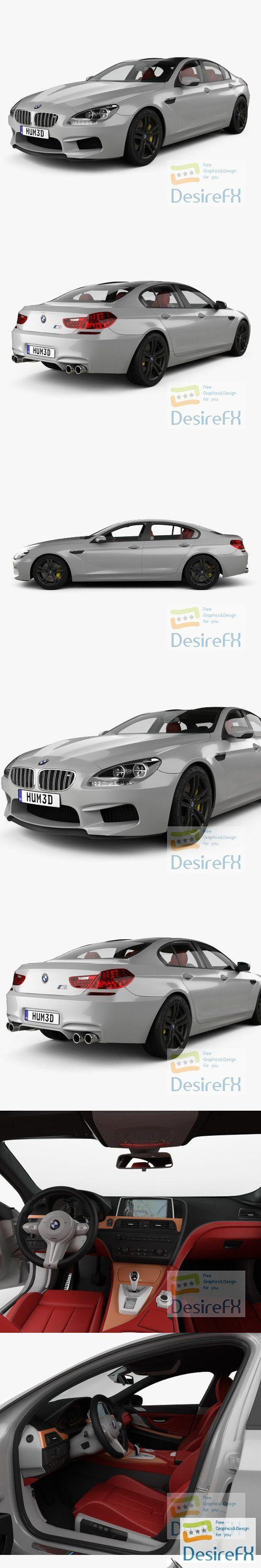 BMW M6 Gran Coupe with HQ interior 2013 3D Model