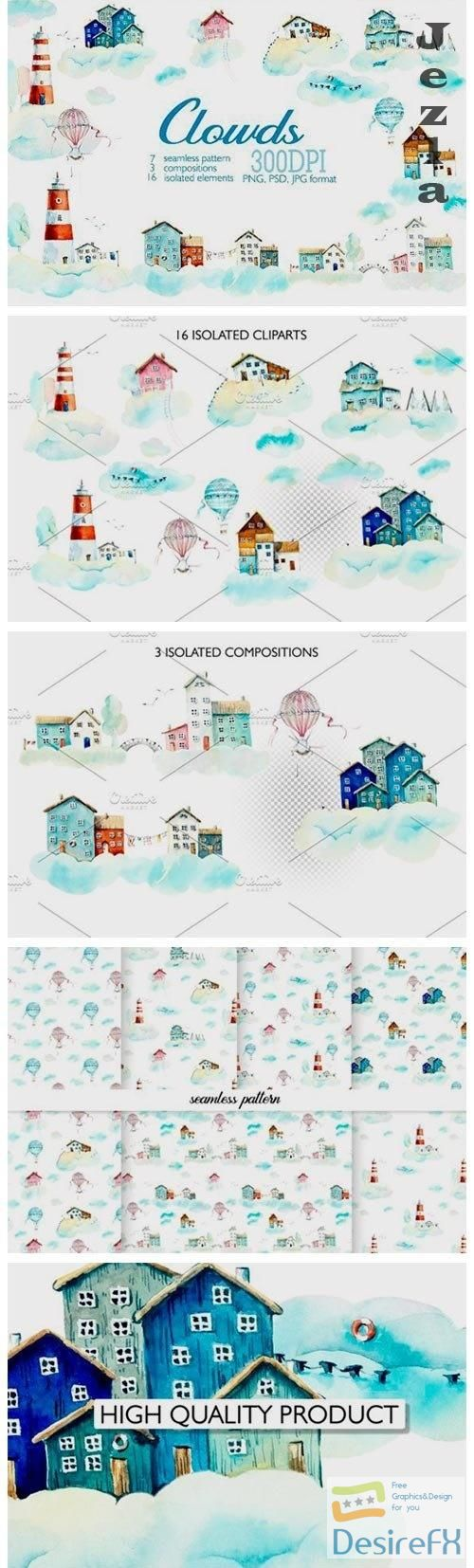 Watercolor houses in clouds - 4031732