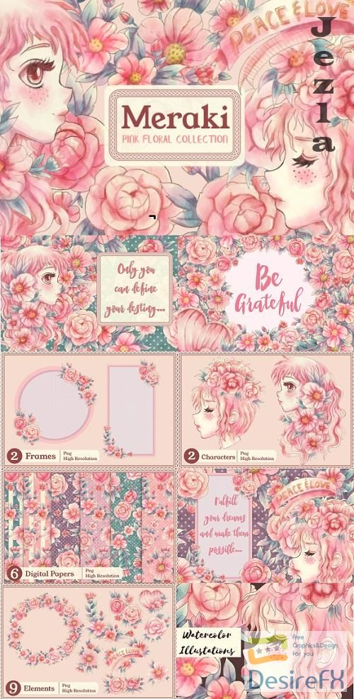Meraki Pink Floral Collection