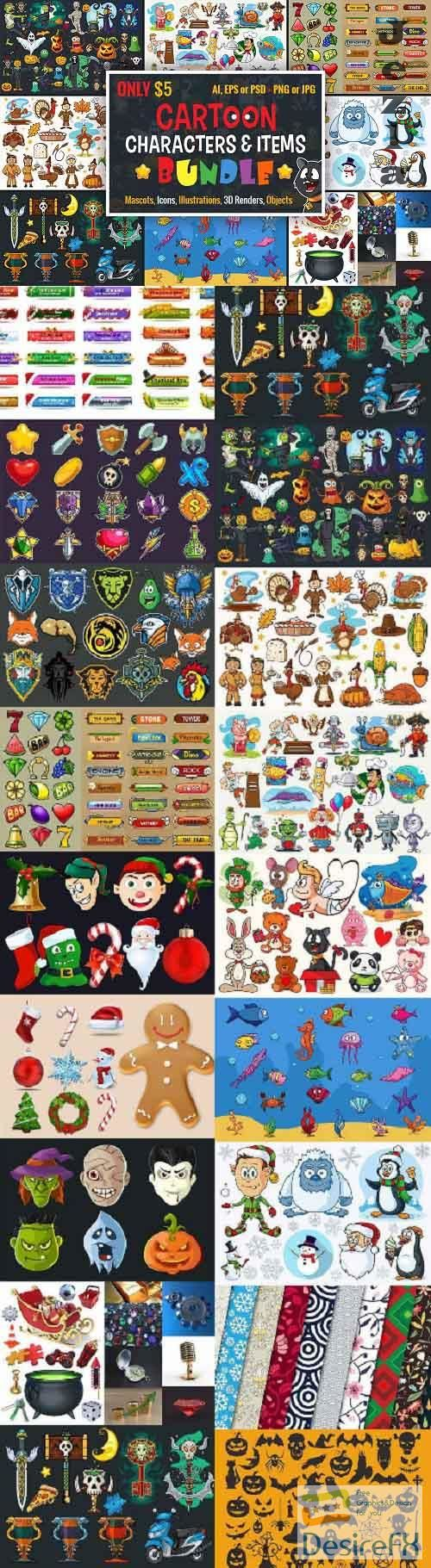 Cartoon Characters & Items Bundle - 1875315