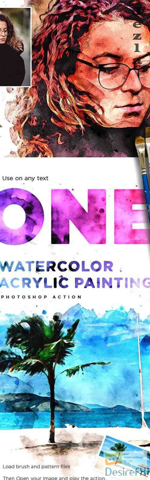 Watercolor Acrylic Painting - Photoshop Action - 26682376