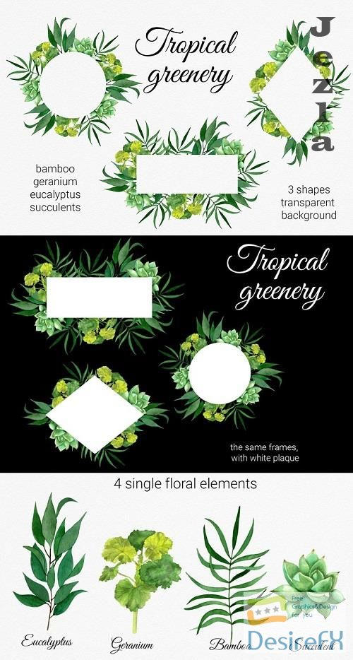 Tropical greenery clipart. Tropical leaf frames and elements - 656741