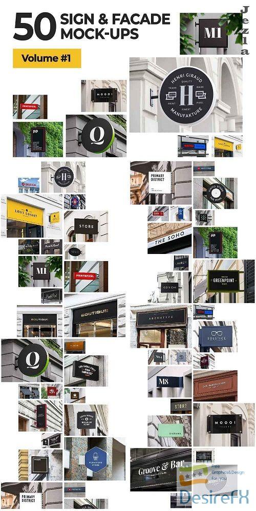 50 sign facade signboard logo mock 1821394