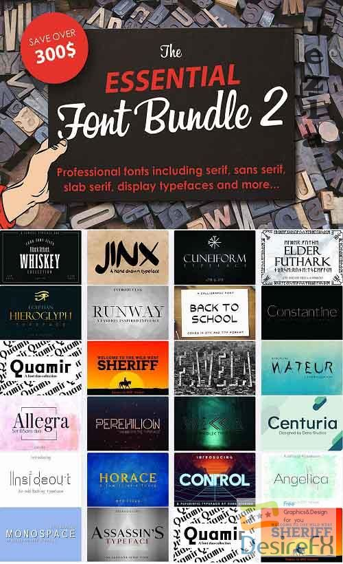 The Essential Font Bundle 2 - 22 Premium Fonts