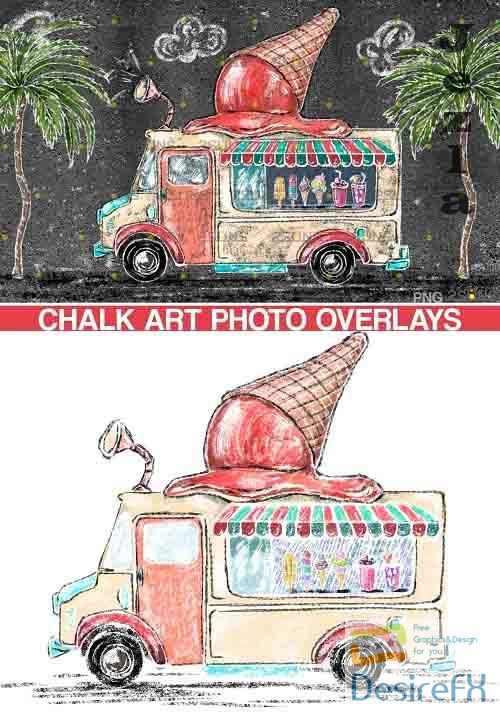 Ice cream chalk art overlay Photoshop overlay - 665345