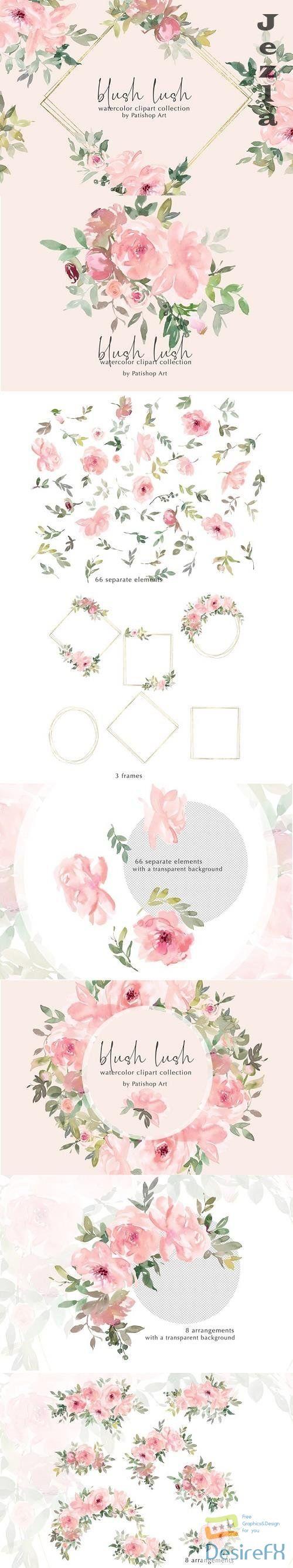 Blush Lush Watercolor Floral Clip Art Collection - 656617