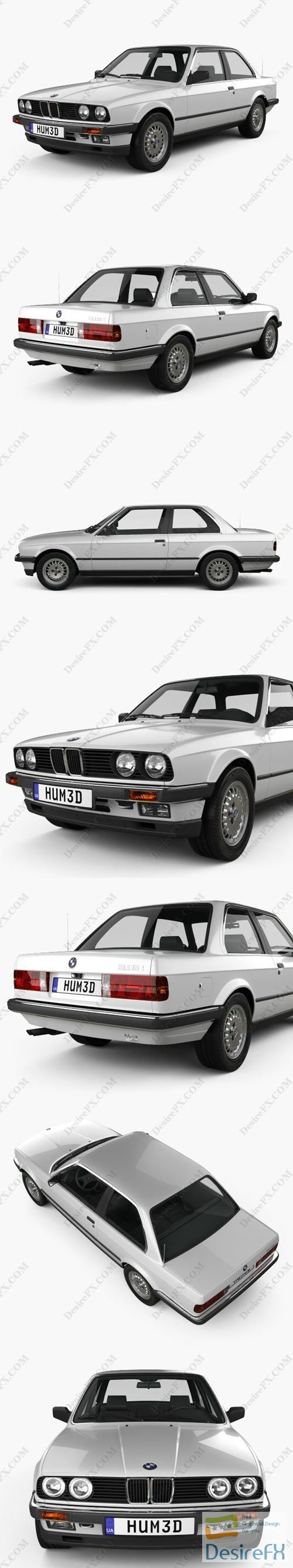 BMW 3 Series coupe 1990 3D Model