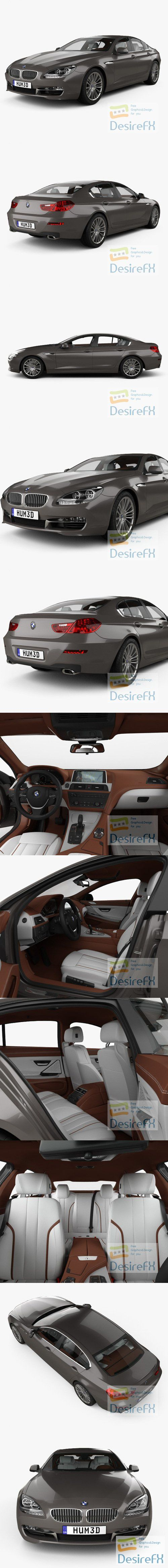 BMW 6 Series Gran Coupe with HQ interior 2012 3D Model