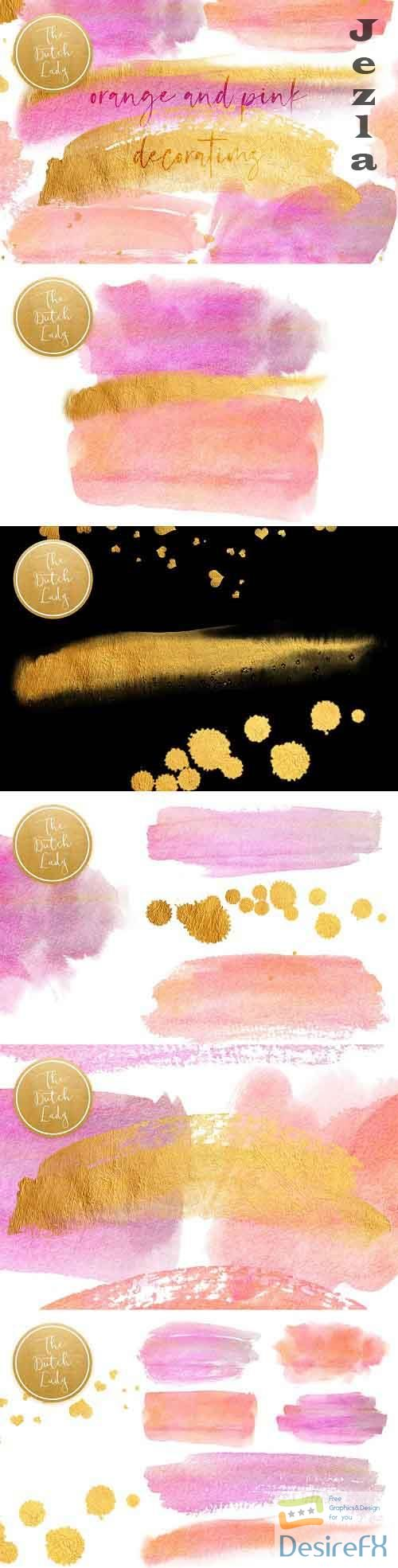 Orange & Pink Watercolor Smears - 5098204