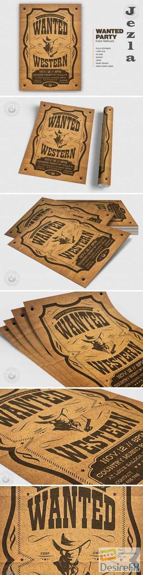 Wanted Western Party Flyer V2 - 5033785