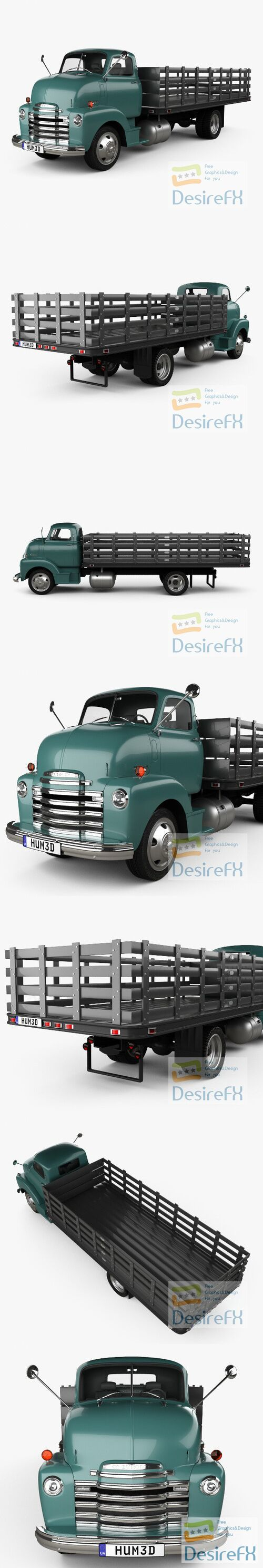 Chevrolet COE Flatbed Truck 1948 3D Model