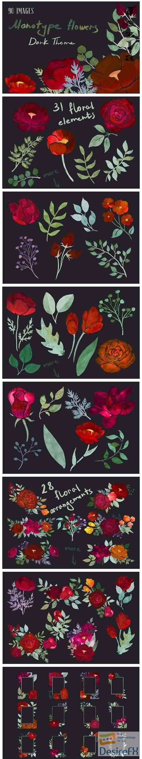 Dark Theme Monotype Flowers - 5024093