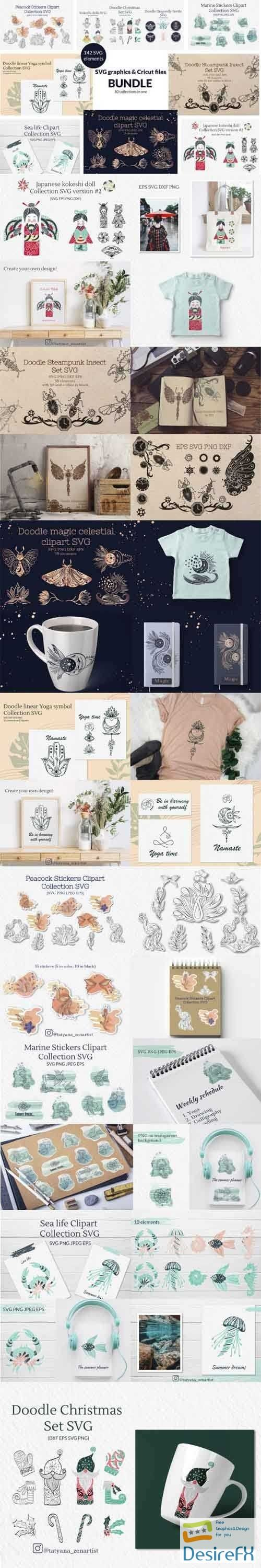 Doodle linear SVG graphics & Cricut files Bundle - 656371