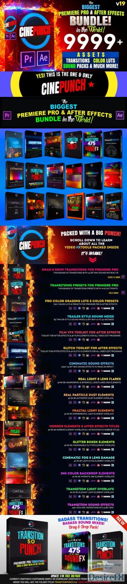 Videohive CINEPUNCH (BUNDLE) - Premiere Pro Transitions I Color LUTs I SFX - 18 PACKS - 9999+ Assets V19