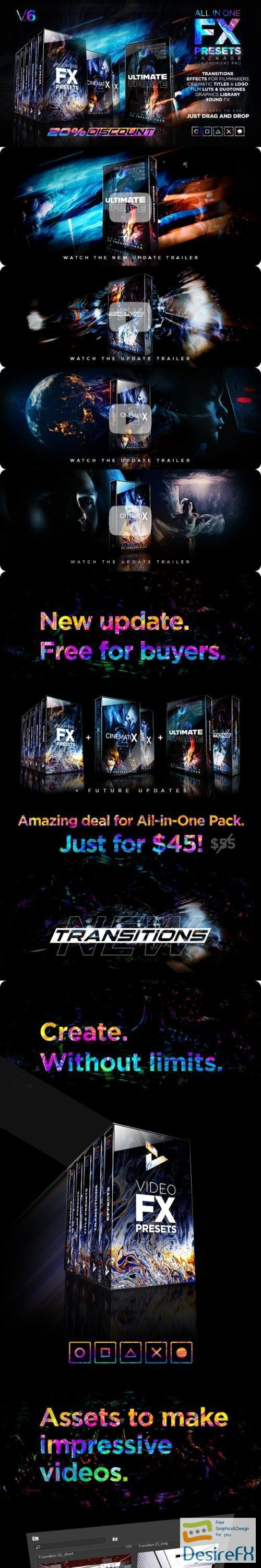 Videohive Presets Pack for Premiere Pro: Effects, Transitions, Titles, LUTS, Duotones, Sounds V6 24028073 - Premiere Pro Templates