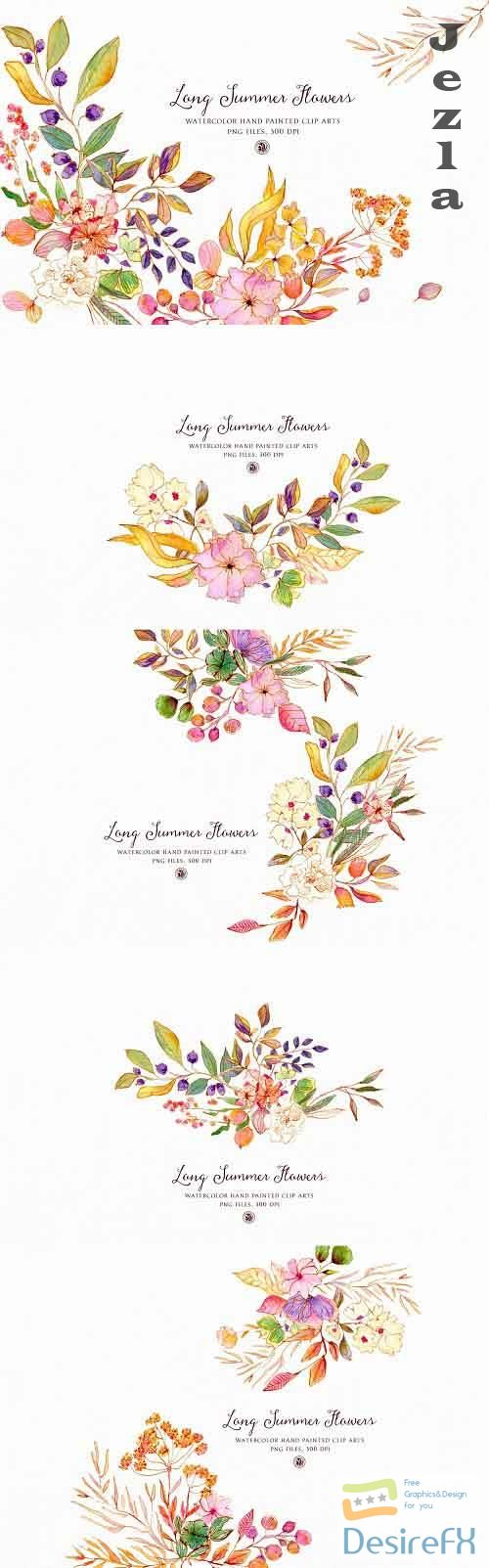 Long Summer Flowers - watercolor set - 5076064
