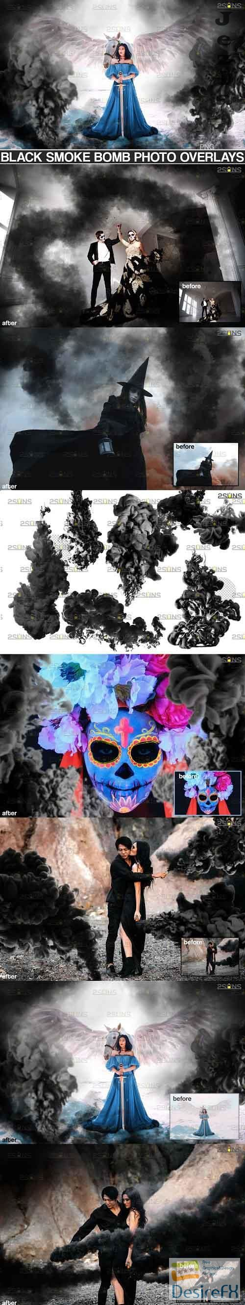 Gender reveal smoke overlay, Black Smoke bomb Halloween - 709541